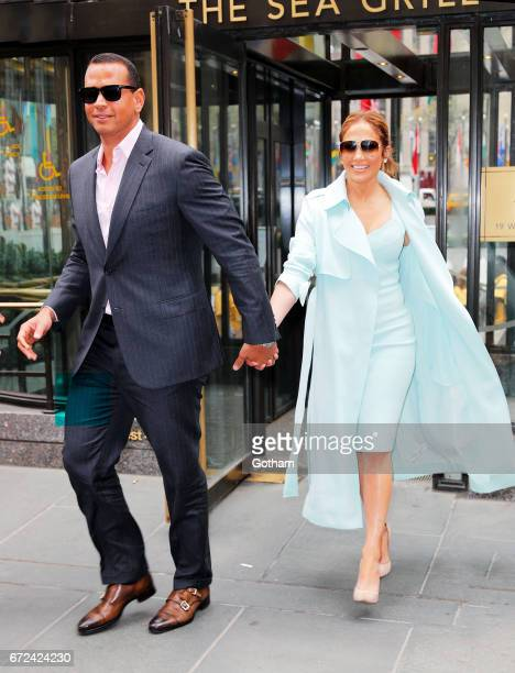 Alex Rodriguez and Jennifer Lopez are seen in Midtown on April 24 2017 in New York City
