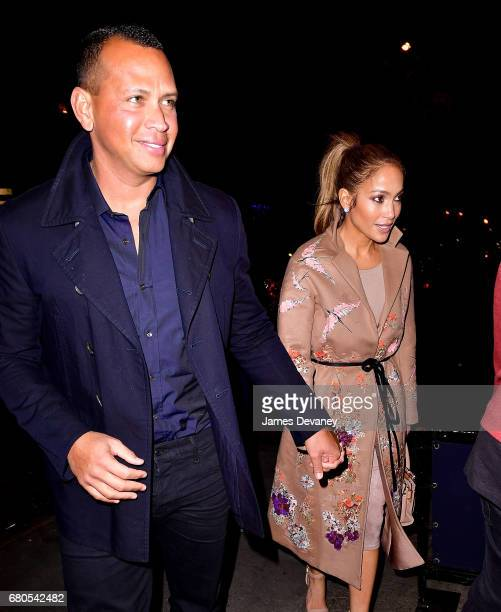 Alex Rodriguez and Jennifer Lopez arrive at Carbone on May 8 2017 in New York City