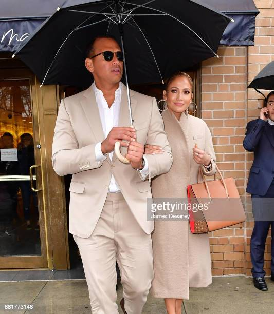 Alex Rodriguez and Jennifer Lopez leave Marea restaurant on March 31 2017 in New York City