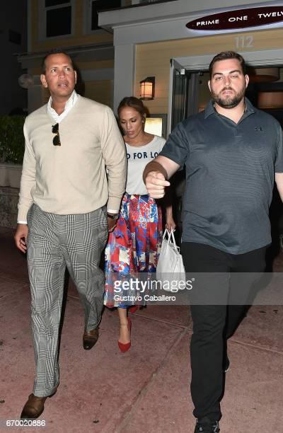 Alex Rodriguez and Jennifer Lopez leaving Prime 112 Steakhouse aftre dinner on April 18 2017 in Miami Florida