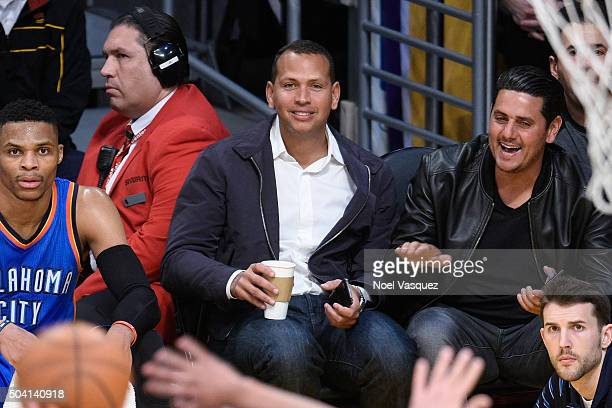 Alex Rodriguez attends a basketball game between Oklahoma City Thunder and the Los Angeles Lakers at Staples Center on January 8 2016 in Los Angeles...