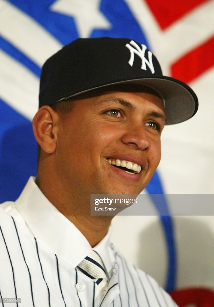 <a gi-track='captionPersonalityLinkClicked' href=/galleries/search?phrase=Alex+Rodriguez+-+Baseball+Player&family=editorial&specificpeople=167080 ng-click='$event.stopPropagation()'>Alex Rodriguez</a> attends a press conference that announced him as the newest New York Yankee on February 17, 2004 at Yankee Stadium in the Bronx, New York. Rodriguez, who was traded from the Texas Rangers, is the highest paid player in baseball, securing a $252 million, 10-year deal with the Yankees.