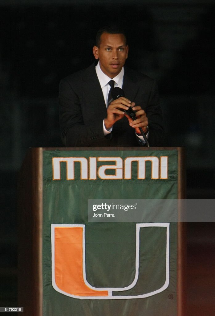 Alex Rodriguez attends the dedication ceremony for Alex Rodriguez Park Dedication Ceremony at University of Miami on February 13 2009 in Coral Gables...