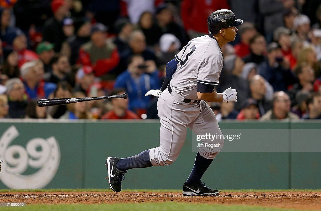 Alex Rodriguez #13 hits 660th career home run to tie Willie Mays epares during a game with Boston Red Sox in the 8th inning at Fenway Park May 1, 2015 in Boston, Massachusetts.