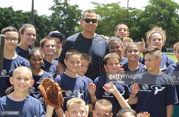Alex Rodriguez hosts a baseball clinic at the Boys And Girls Club Of Miami at Boys and Girls Club Of MiamiDade on June 16 2015 in Miami Florida