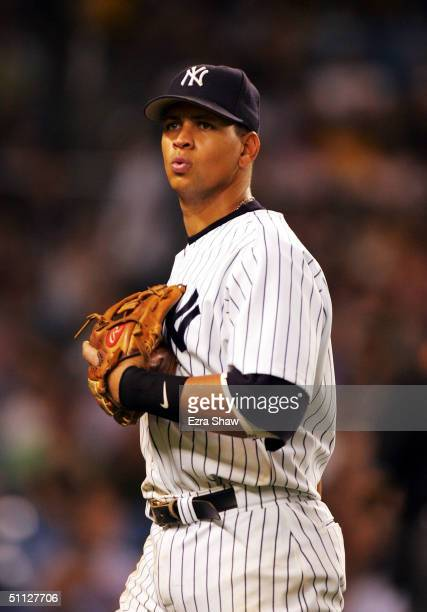 Alex Rodriguez of the New York Yankees after striking out to end the seventh inning during their game against the Baltimore Orioles on July 29 2004...