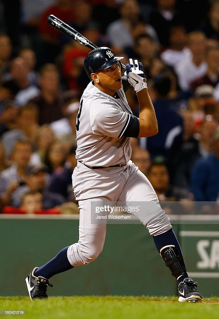 Alex Rodriguez #13 of the New York Yankees at bat against the Boston Red Sox during the game on September 12, 2012 at Fenway Park in Boston, Massachusetts.