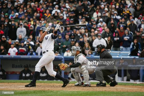 Alex Rodriguez of the New York Yankees bats against the Baltimore Orioles on April 7 2007 at Yankee Stadium in the Bronx New York The Yankees won 107