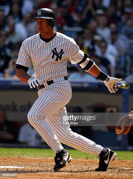 Alex Rodriguez of the New York Yankees bats against the Boston Red Sox during the game at Yankee Stadium on April 6 2005 in Bronx New York The Red...