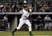 Alex Rodriguez of the New York Yankees bats against the Minnesota Twins in Game One of the ALDS during the 2009 MLB Playoffs at Yankee Stadium on...