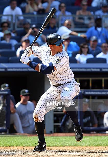 Alex Rodriguez of the New York Yankees bats against the Toronto Blue Jays on July 6 2009 at Yankee Stadium in the Bronx borough of New York City The...