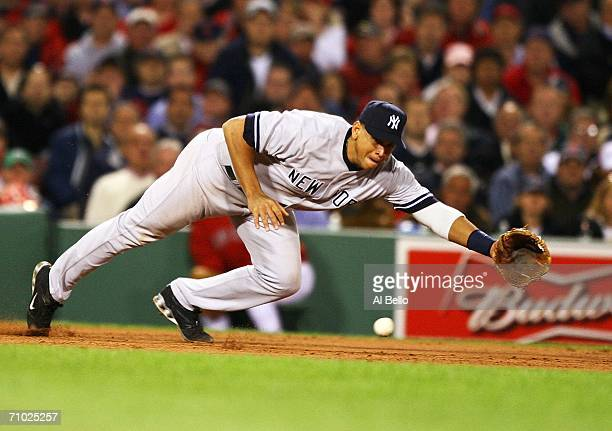 Alex Rodriguez of the New York Yankees cannot get to a ball hit by Doug Mirabelli of the Boston Red Sox which scored a run in the sixth inning on May...
