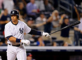 Alex Rodriguez of the New York Yankees celebrates his grand slam in the seventh inning against the Minnesota Twins on August 18 2015 at Yankee...
