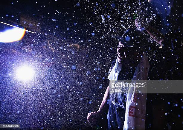 Alex Rodriguez of the New York Yankees celebrates the 41 win against the Boston Red Sox and their wildcard playoff berth after their game at Yankee...