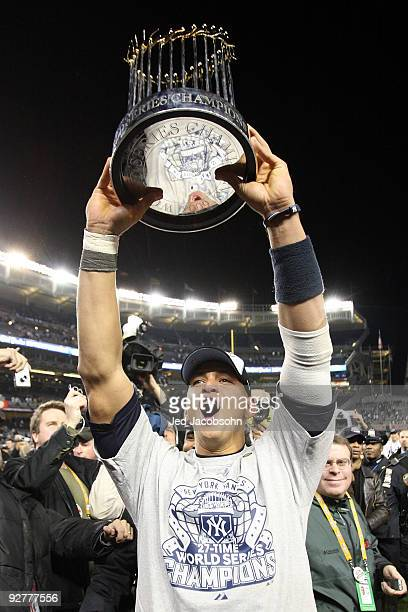 Alex Rodriguez of the New York Yankees celebrates with the trophy after their 73 win against the Philadelphia Phillies in Game Six of the 2009 MLB...