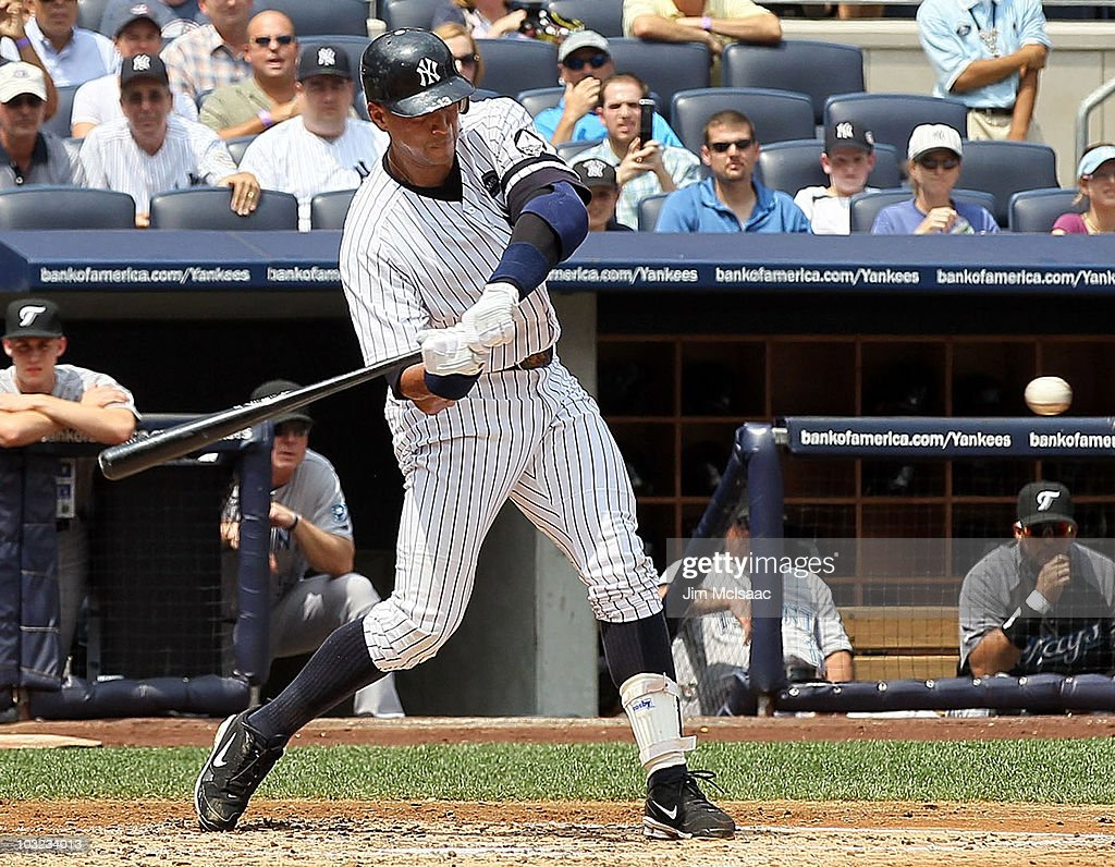 Alex Rodriguez of the New York Yankees connects on his 600th career home run in the first inning against the Toronto Blue Jays on August 4 2010 at...
