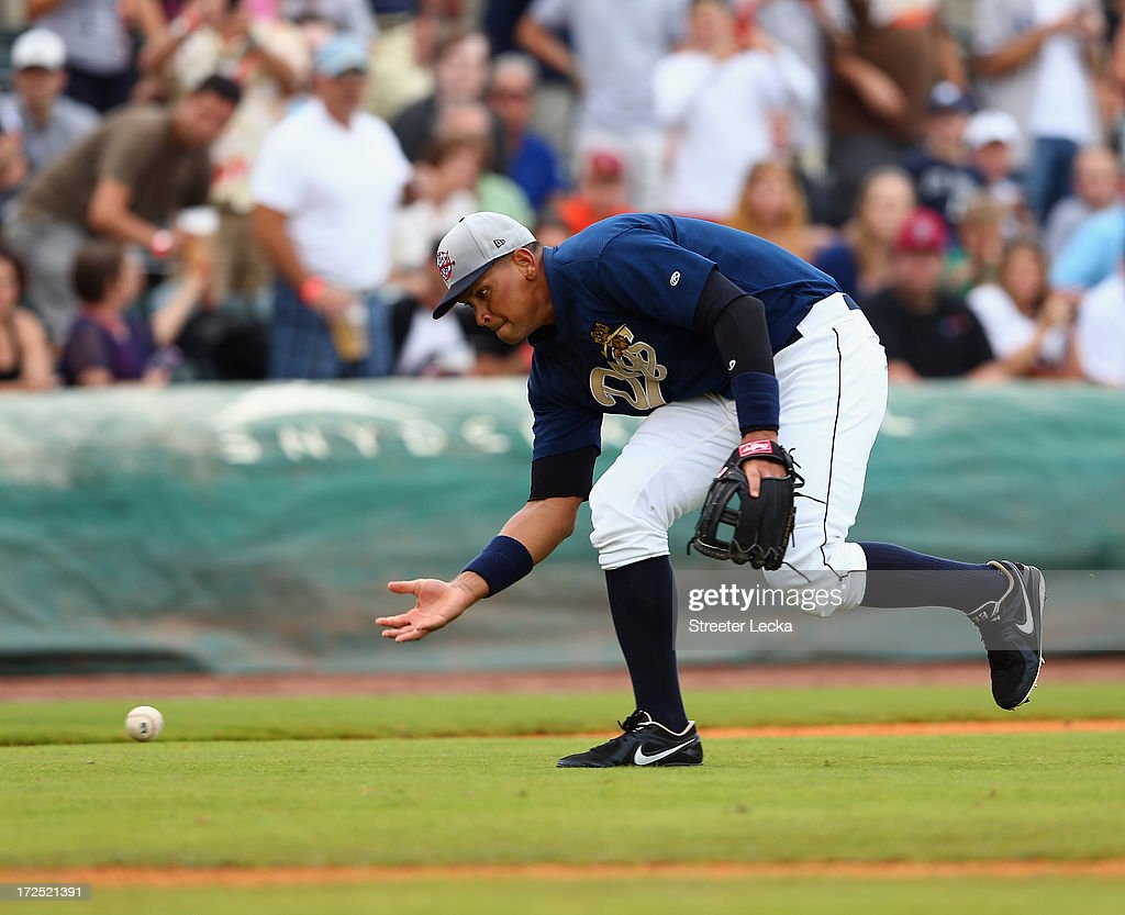 Alex Rodriguez of the New York Yankess fields a ball during his game for the Charleston RiverDogs at Joseph P. Riley Jr. Park on July 2, 2013 in Charleston, South Carolina.
