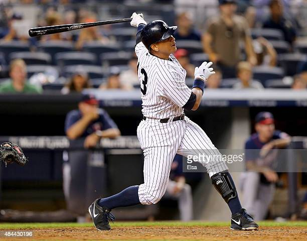 Alex Rodriguez of the New York Yankees hits a grand slam in the seventh inning against the Minnesota Twins on August 18 2015 at Yankee Stadium in the...