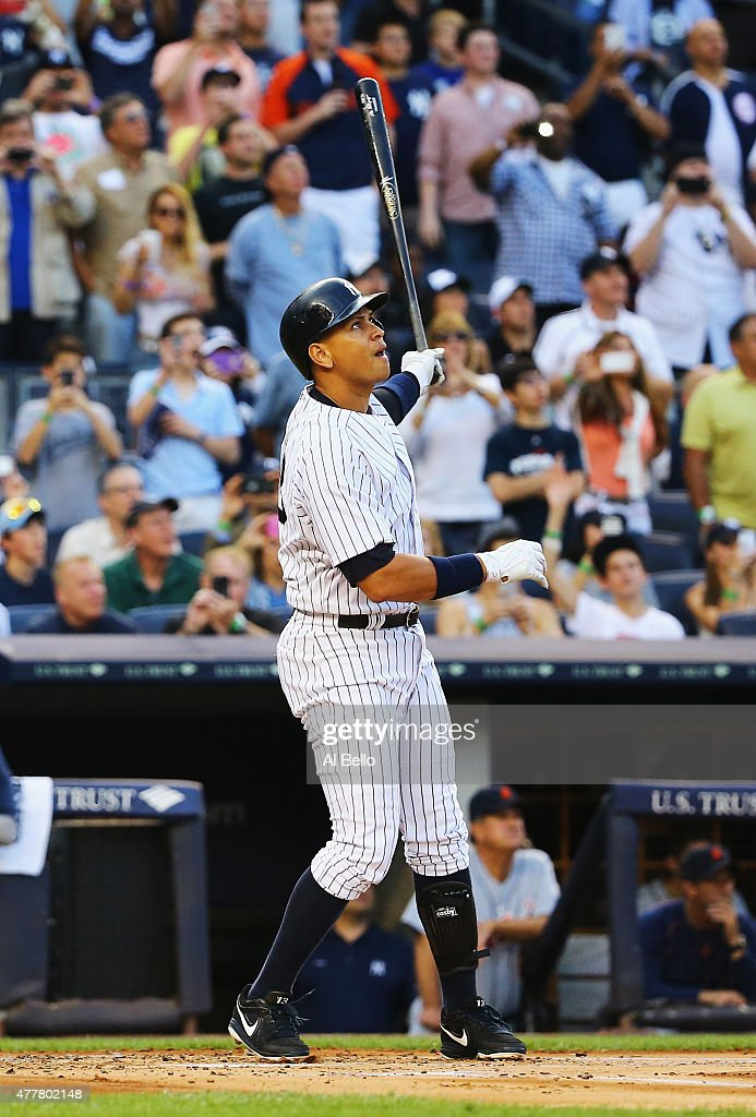Alex Rodriguez of the New York Yankees hits a home run as well as getting his 3000th career hit in the first inning against Justin Verlander of the...