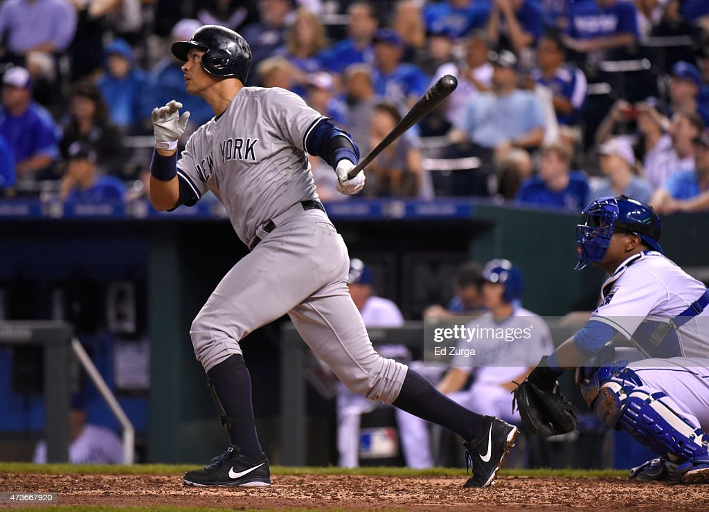 Alex Rodriguez #13 of the New York Yankees hits a home run in the ninth inning against the Kansas City Royals at Kauffman Stadium on May 16, 2014 in Kansas City, Missouri.