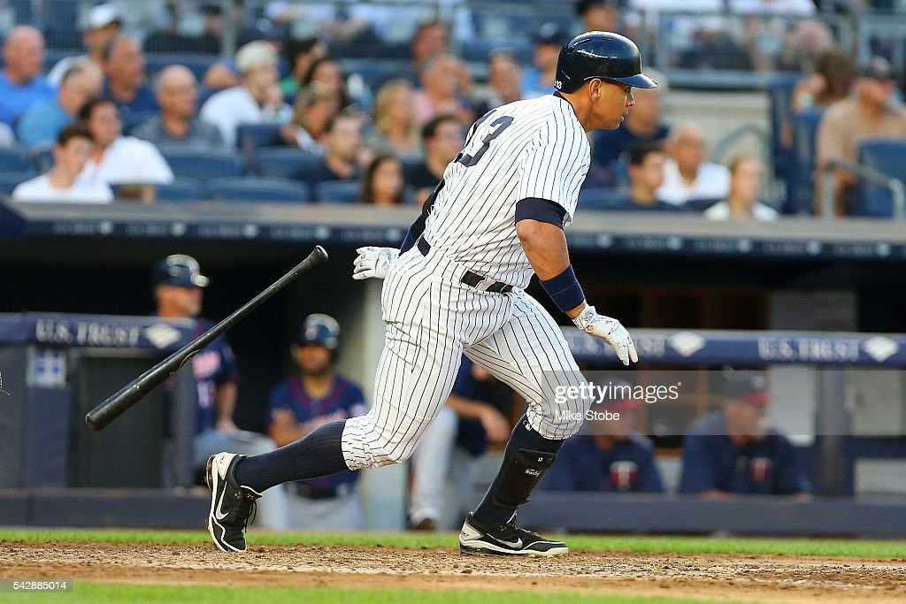 Alex Rodriguez #13 of the New York Yankees hits a RBI single to left field in the third inning against the Minnesota Twins at Yankee Stadium on June 24, 2016 in the Bronx borough of New York City. Boston