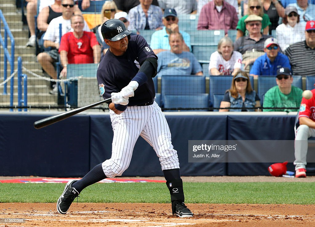 Alex Rodriguez #13 of the New York Yankees hits a two run home run in the first inning during the game against the Philadelphia Phillies at George M. Steinbrenner Field on March 3, 2016 in Clearwater, Florida.