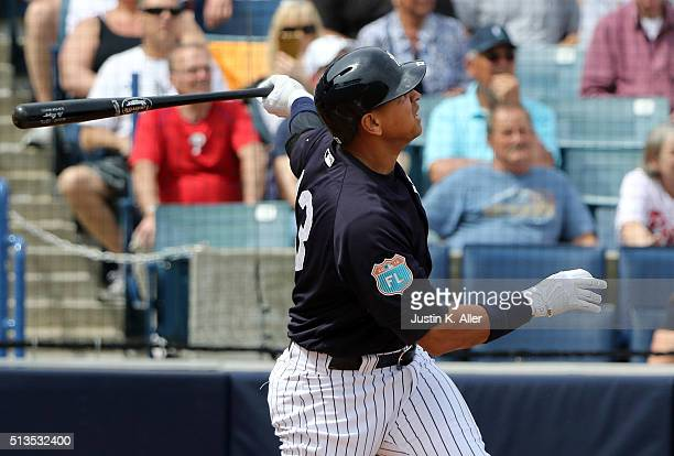 Alex Rodriguez of the New York Yankees hits a two run home run in the first inning during the game against the Philadelphia Phillies at George M...