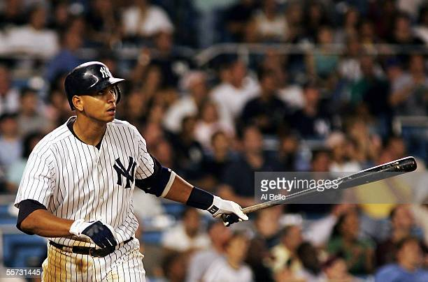 Alex Rodriguez of the New York Yankees hits his 45th home run of the season in the eighth inning off of Jorge Julio of the Baltimore Orioles on...