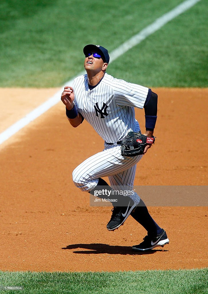 Alex Rodriguez #13 of the New York Yankees in action against the Los Angeles Angels of Anaheim at Yankee Stadium on August 15, 2013 in the Bronx borough of New York City. The Angels defeated the Yankees 8-4.