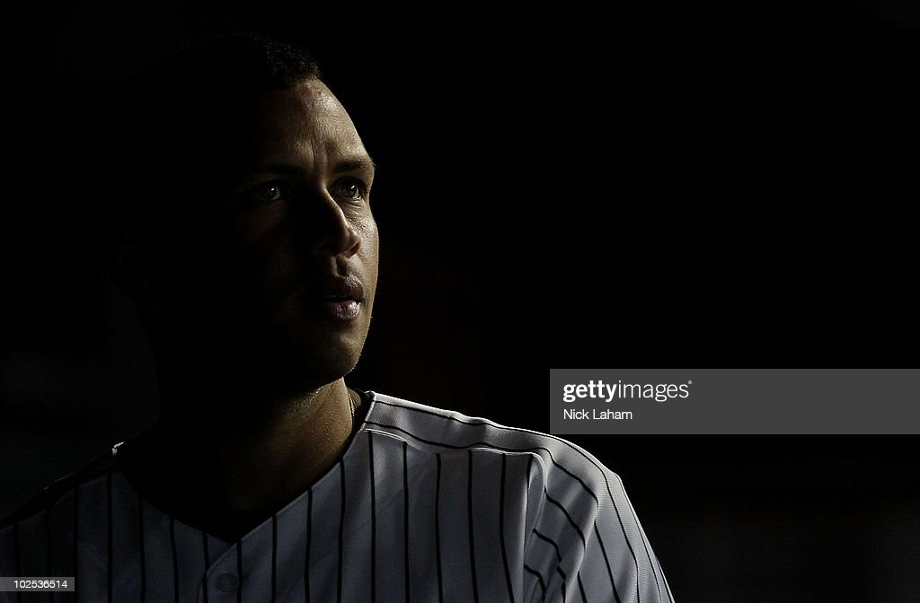 <a gi-track='captionPersonalityLinkClicked' href=/galleries/search?phrase=Alex+Rodriguez+-+Baseball+Player&family=editorial&specificpeople=167080 ng-click='$event.stopPropagation()'>Alex Rodriguez</a> #13 of the New York Yankees in the dugout against the Seattle Mariners at Yankee Stadium on June 29, 2010 in the Bronx borough of New York City.