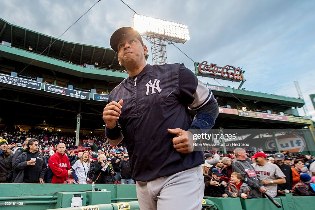 <a gi-track='captionPersonalityLinkClicked' href=/galleries/search?phrase=Alex+Rodriguez+-+Baseball&family=editorial&specificpeople=167080 ng-click='$event.stopPropagation()'>Alex Rodriguez</a> #13 of the New York Yankees jogs before a game against the Boston Red Sox on April 29, 2016 at Fenway Park in Boston, Massachusetts .