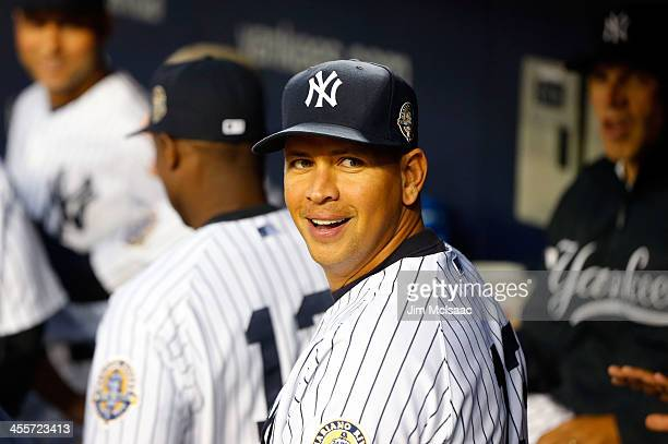 Alex Rodriguez of the New York Yankees looks on before a game against the Tampa Bay Rays at Yankee Stadium on September 25 2013 in the Bronx borough...