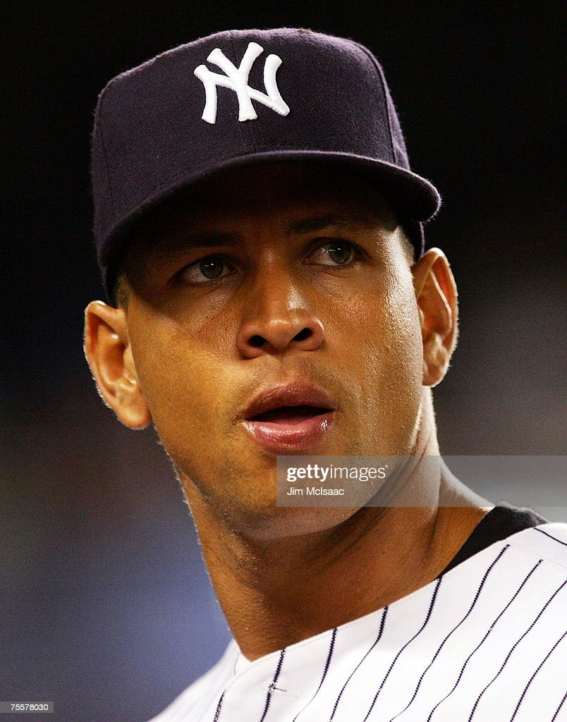 Alex Rodriguez of the New York Yankees looks on during the game against the Tampa Bay Devil Rays during their game at Yankee Stadium July 20 2007 in...