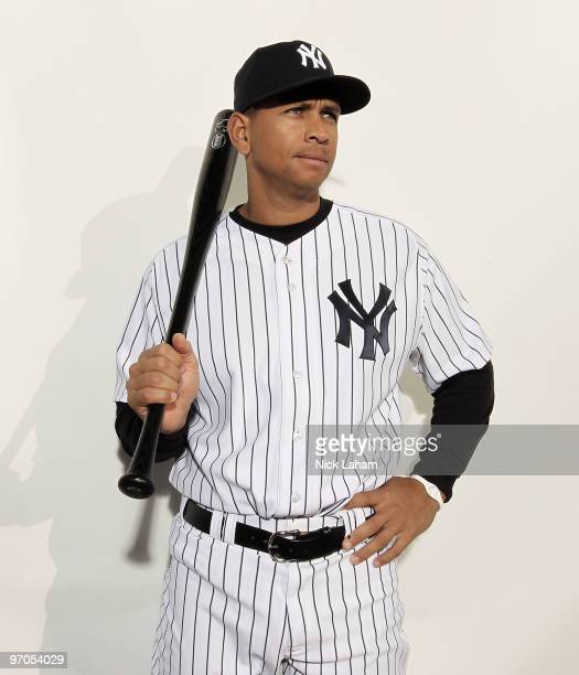 Alex Rodriguez of the New York Yankees poses for a photo during Spring Training Media Photo Day at George M Steinbrenner Field on February 25 2010 in...