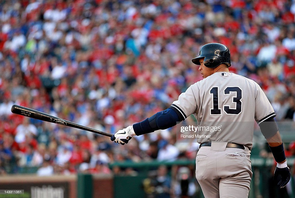 <a gi-track='captionPersonalityLinkClicked' href=/galleries/search?phrase=Alex+Rodriguez+-+Baseball+Player&family=editorial&specificpeople=167080 ng-click='$event.stopPropagation()'>Alex Rodriguez</a> #13 of the New York Yankees prepares to bat against the Texas Rangers at Rangers Ballpark in Arlington on April 23, 2012 in Arlington, Texas.