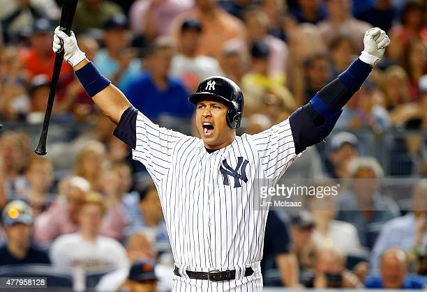 Alex Rodriguez of the New York Yankees reacts after a play against the Detroit Tigers at Yankee Stadium on June 19 2015 in the Bronx borough of New...