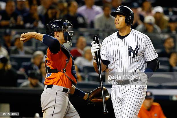 Alex Rodriguez of the New York Yankees reacts after being struck out in the ninth inning against Luke Gregerson of the Houston Astros during the...