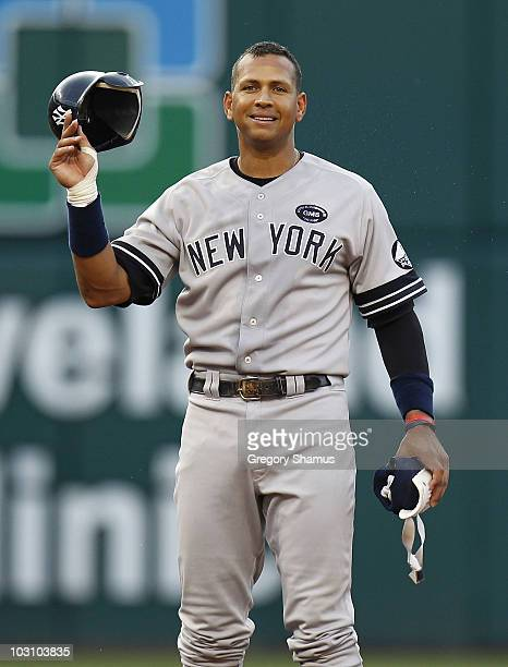 Alex Rodriguez of the New York Yankees reacts after flying out to left field while playing the Cleveland Indians on July 26 2010 at Progressive Field...
