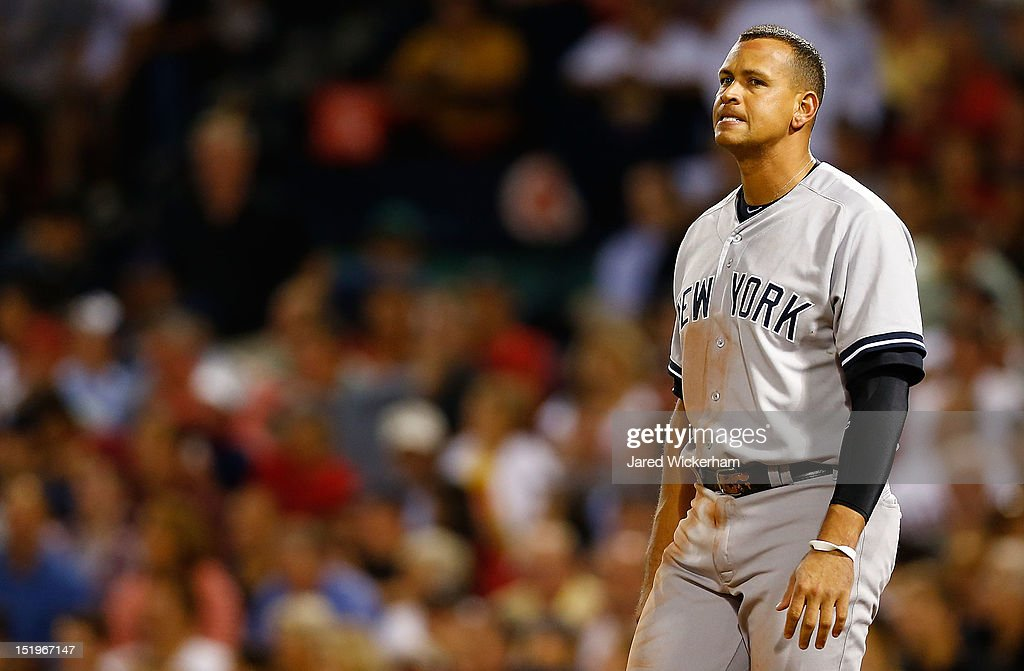 <a gi-track='captionPersonalityLinkClicked' href=/galleries/search?phrase=Alex+Rodriguez+-+Baseball+Player&family=editorial&specificpeople=167080 ng-click='$event.stopPropagation()'>Alex Rodriguez</a> #13 of the New York Yankees reacts after striking out in the 7th inning against the Boston Red Sox during the game on September 13, 2012 at Fenway Park in Boston, Massachusetts.