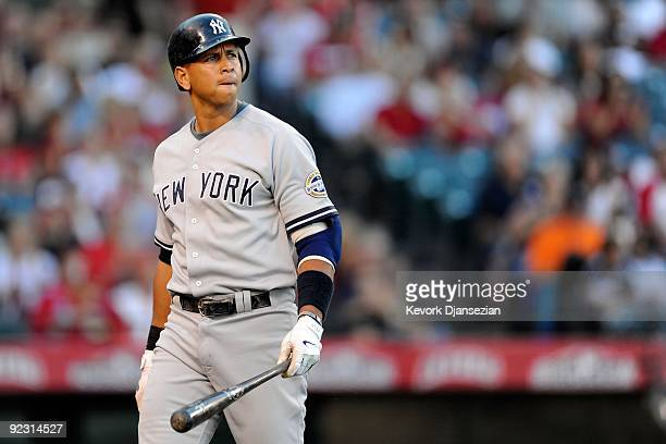 Alex Rodriguez of the New York Yankees reacts after striking out in the forth inning in Game Five of the ALCS against the Los Angeles Angels of...
