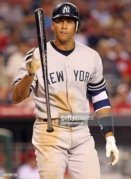 Alex Rodriguez of the New York Yankees reacts during the game against the Los Angeles Angels of Anaheim at Angels Stadium on August 22 2007 in...