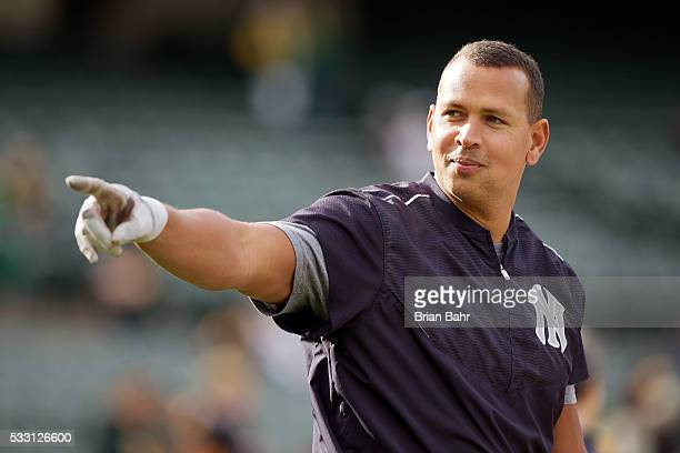 Alex Rodriguez of the New York Yankees recognizes the fans as he takes batting practice before a game against the Oakland A's at Oco Coliseum on May...