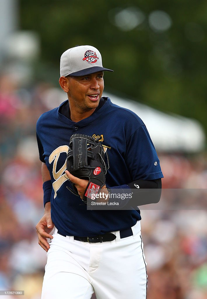 Alex Rodriguez of the New York Yankess runs off the field during his game for the Charleston RiverDogs at Joseph P. Riley Jr. Park on July 2, 2013 in Charleston, South Carolina.