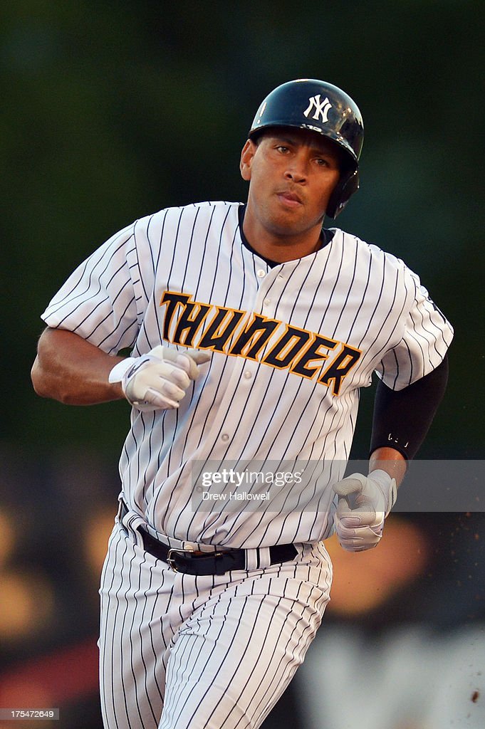 Alex Rodriguez #13 of the New York Yankees runs towards third during a rehab game for the Trenton Thunder against the Reading Fightin Phils at Arm & Hammer Park on August 3, 2013 in Trenton, New Jersey.