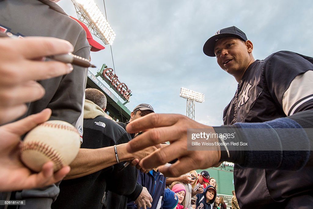 <a gi-track='captionPersonalityLinkClicked' href=/galleries/search?phrase=Alex+Rodriguez+-+Baseball+Player&family=editorial&specificpeople=167080 ng-click='$event.stopPropagation()'>Alex Rodriguez</a> #13 of the New York Yankees signs autographs before a game against the Boston Red Sox on April 29, 2016 at Fenway Park in Boston, Massachusetts .