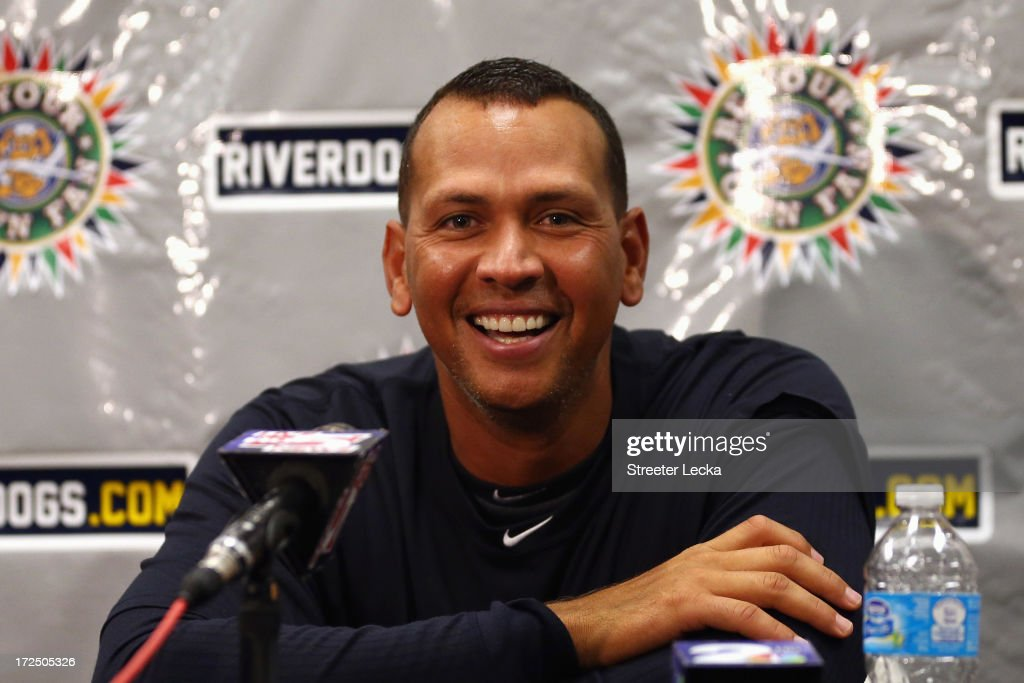 <a gi-track='captionPersonalityLinkClicked' href=/galleries/search?phrase=Alex+Rodriguez+-+Baseball+Player&family=editorial&specificpeople=167080 ng-click='$event.stopPropagation()'>Alex Rodriguez</a> of the New York Yankess speaks to the media before his game for the Charleston RiverDogs at Joseph P. Riley Jr. Park on July 2, 2013 in Charleston, South Carolina. The Yankees cleared Rodriguez to play in the minor leagues starting today after he underwent hip surgery in January.