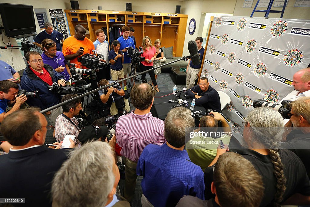 Alex Rodriguez of the New York Yankess speaks to the media before his game for the Charleston RiverDogs at Joseph P. Riley Jr. Park on July 2, 2013 in Charleston, South Carolina. The Yankees cleared Rodriguez to play in the minor leagues starting today after he underwent hip surgery in January.