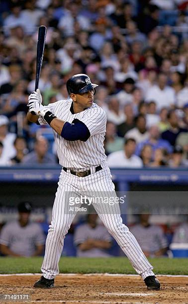 Alex Rodriguez of the New York Yankees stands at the plate during the game with the Chicago White Sox on July 14 2006 at Yankee Stadium in the Bronx...