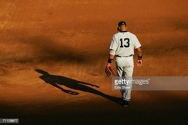 Alex Rodriguez of the New York Yankees stands in the infield against the Kansas City Royals at Yankee Stadium on May 27 2006 in the Bronx New York...