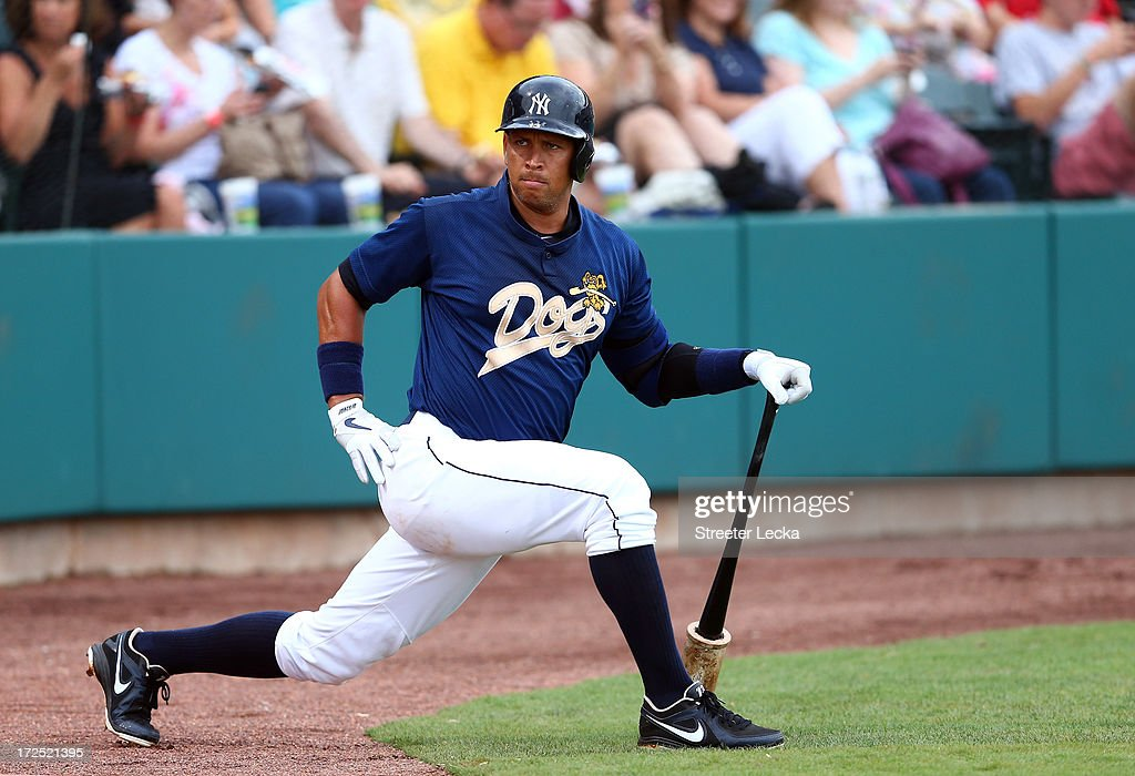 Alex Rodriguez of the New York Yankess stretches before his at bat during his game for the Charleston RiverDogs at Joseph P. Riley Jr. Park on July 2, 2013 in Charleston, South Carolina.